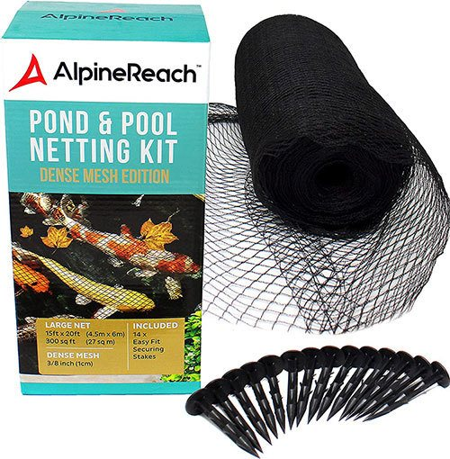 AlpineReach-Koi-Pond-Netting-Kit-15-x-20-Feet---Woven-Fine-Mesh-Heavy-Duty-Stretch-Net-Cover-for-Leaves---Protects-Koi-Fish-from-Blue-H